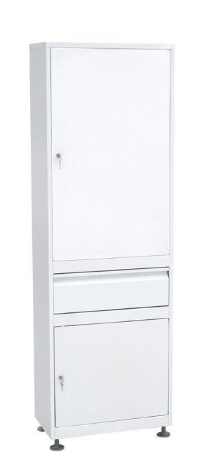 Шкаф медицинский одностворчатый (ШММ-1-Р-1) ШММ-1 с регулируемыми опорами с выдвижным ящиком