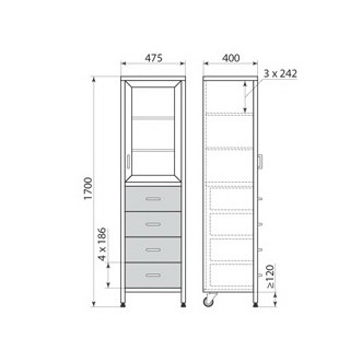 Медицинский шкаф ДМ-3-001-09, фото 2