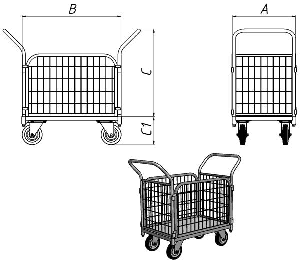 Платформенная тележка с сетчатыми бортами ТС Чертеж