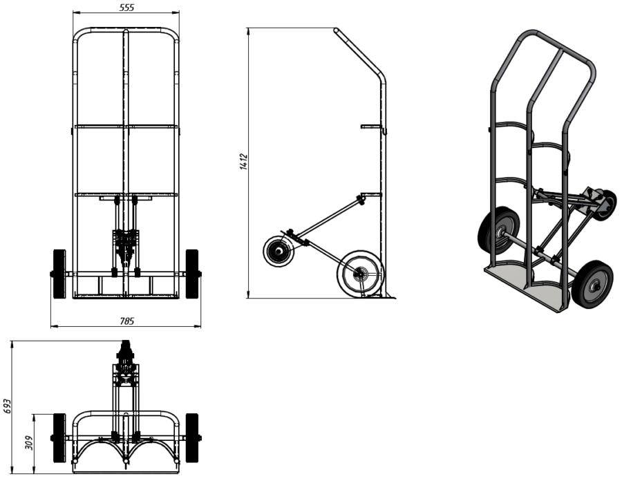 Тележка для перевозки двух баллонов ГБ-2, фото 2