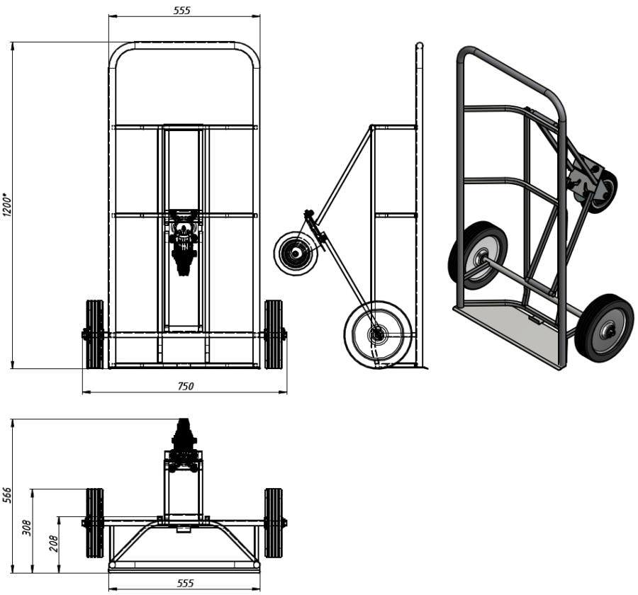 Тележка для транспортировки металлических бочек КБ-2, фото 2