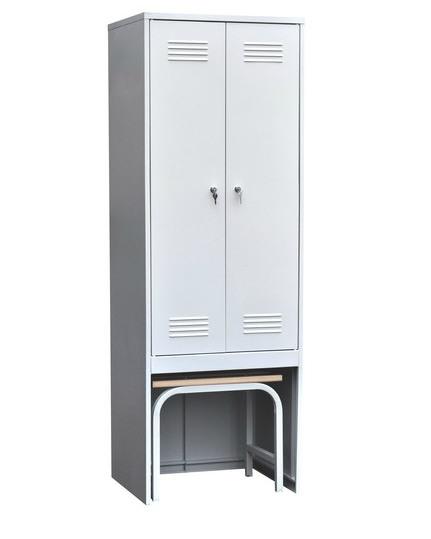 Шкаф для одежды двухстворчатый с задвижной скамьей (верх липа), фото 2